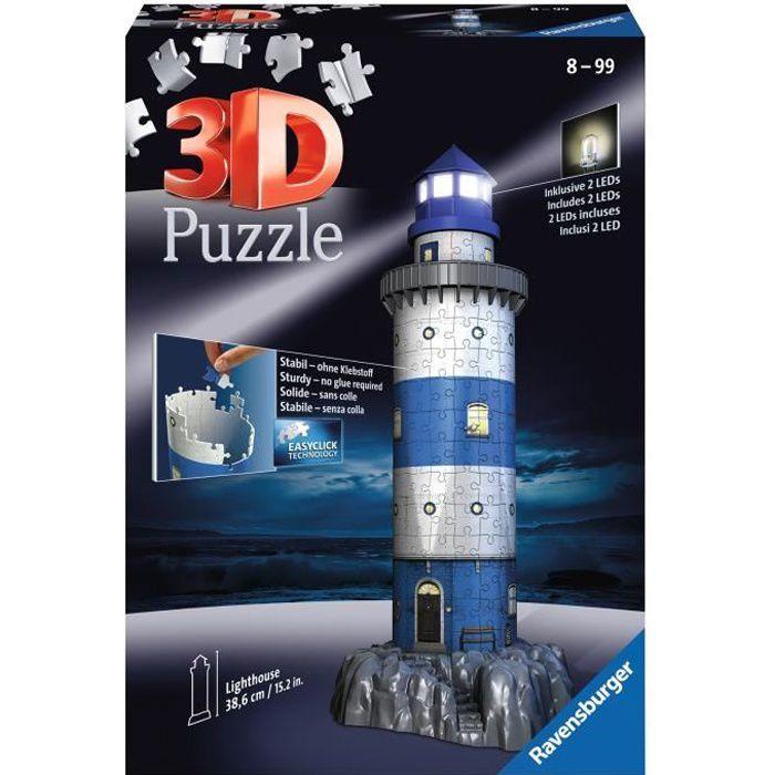 Puzzle 3D Phare illuminé - Ravensburger - Monument 216 pièces - sans colle - avec LEDS couleur - Dès 8 ans