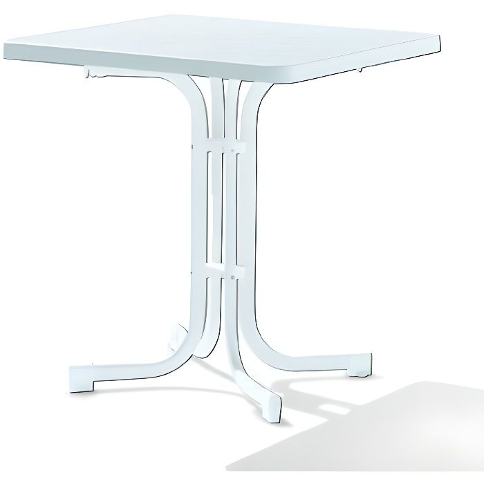 SIEGER Table de Jardin Acier Blanc 70 x 70 x 72 cm - 131/W