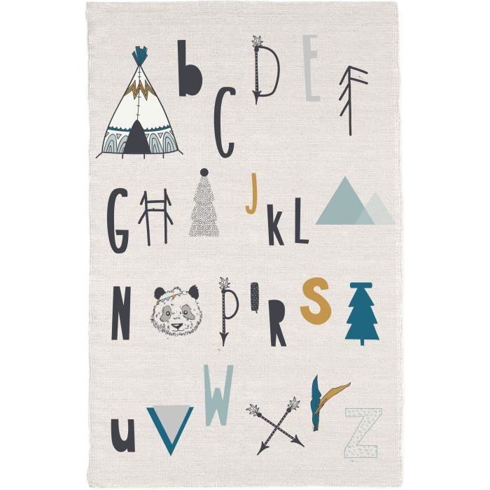 TODAY Tapis Coton Alphabet - 60 x 120 cm