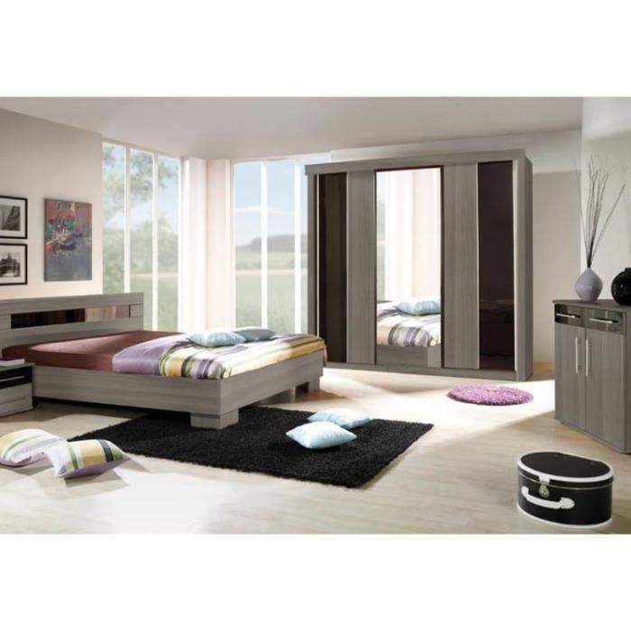 Chambre à coucher complète DUBLIN adulte design. Lit 160x200 cm + armoire +  commode + 2 chevets