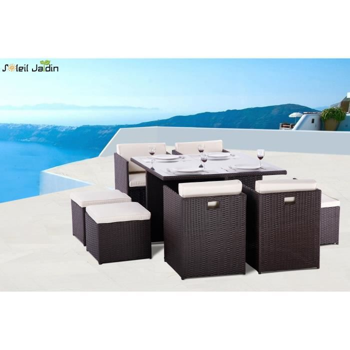 salon de jardin 8 places encastrables luco marron achat. Black Bedroom Furniture Sets. Home Design Ideas