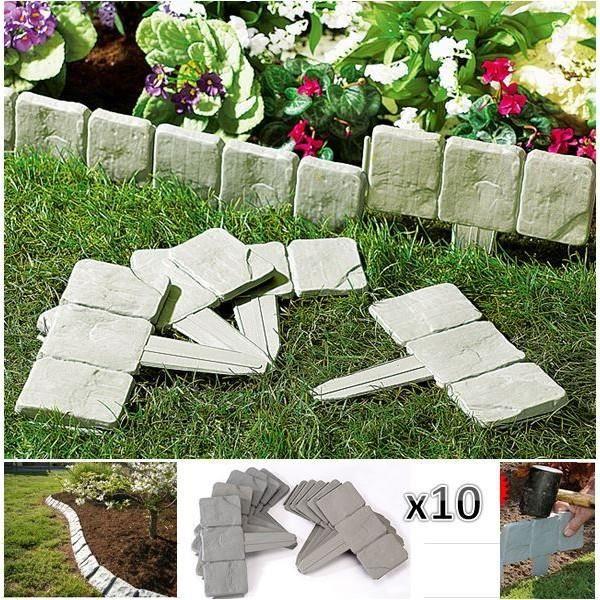 BORDURE Bordurette de jardin imitation pierre x10 pièces.