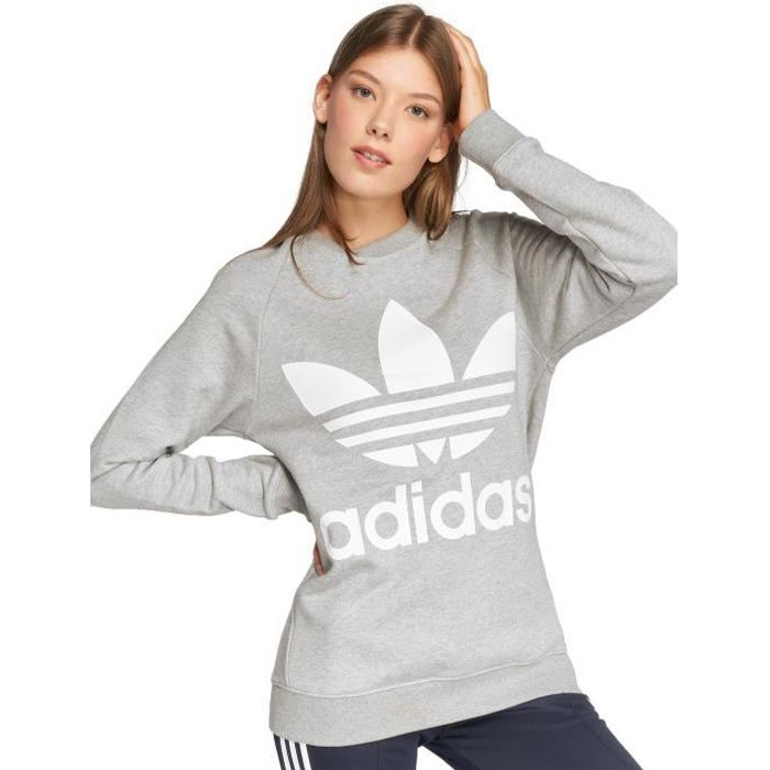 Adidas originals Femme Hauts   Sweat   Pull Oversized Sweat gris 38 ... 81b9a8d1fa2