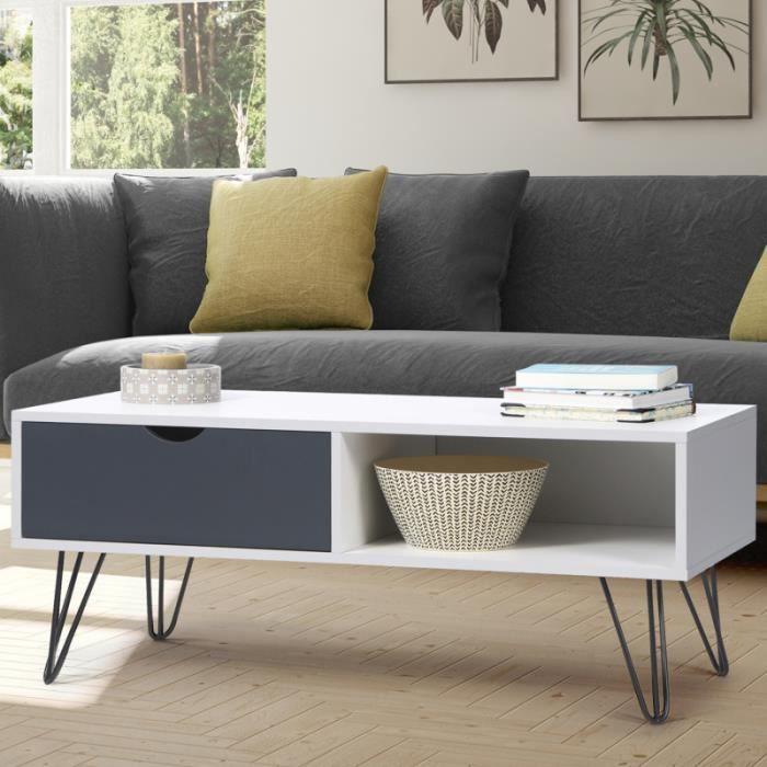 TABLE BASSE Table basse vintage NOEMI pied épingle blanc tiroi