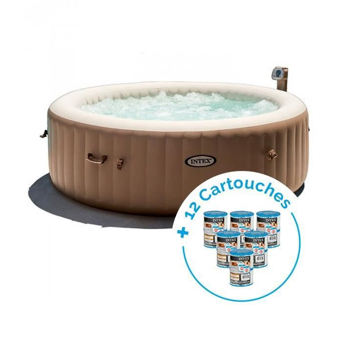 Spa Gonflable Intex Purespa Bulles 6 Personnes 12 Cartouches