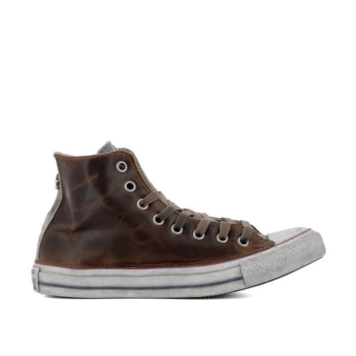 CONVERSE HOMME 159053C MARRON CUIR BASKETS MONTANTES Marron ...