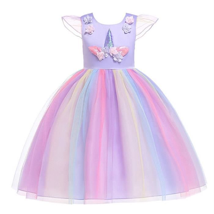 Robe Licorne Robe De Soiree Coloree Princess Dress Unicorn Emilie Mariage Violet Achat Vente Robe Cdiscount