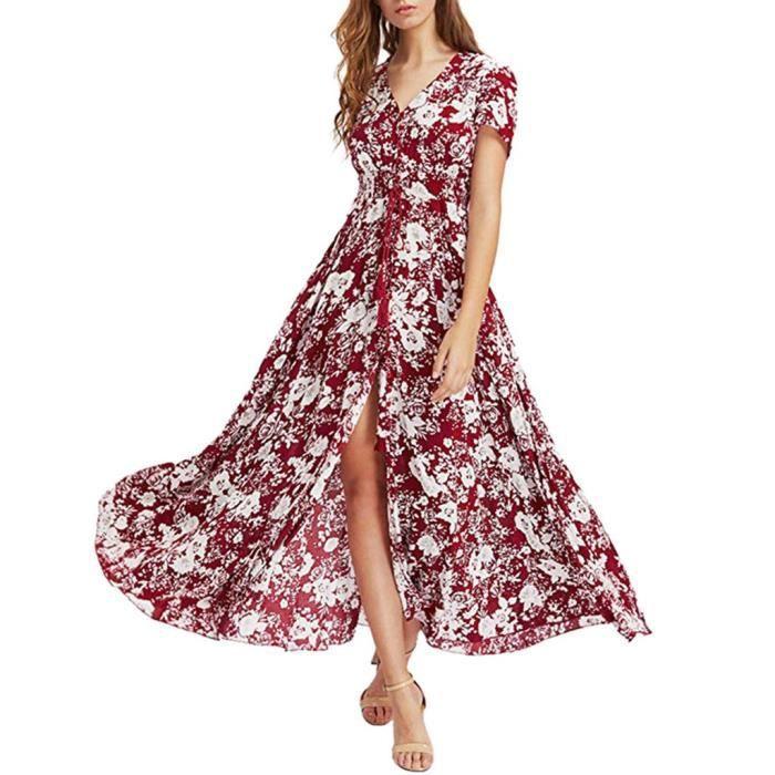 Robe Longue Imprimee Fleurie Boutonnee A Manches Courtes Pour Femmes Rouge Rouge Achat Vente Robe Cdiscount