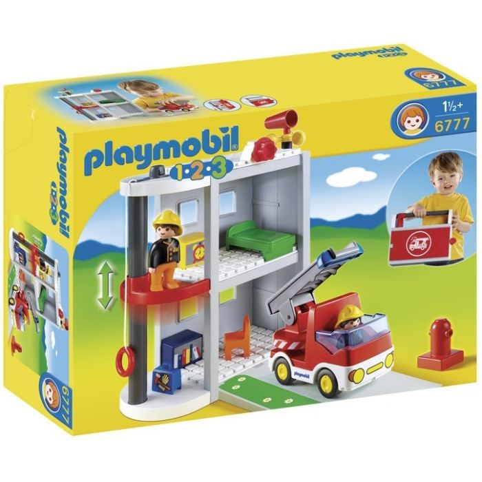 playmobil 1 2 3 6777 caserne de pompiers achat vente. Black Bedroom Furniture Sets. Home Design Ideas
