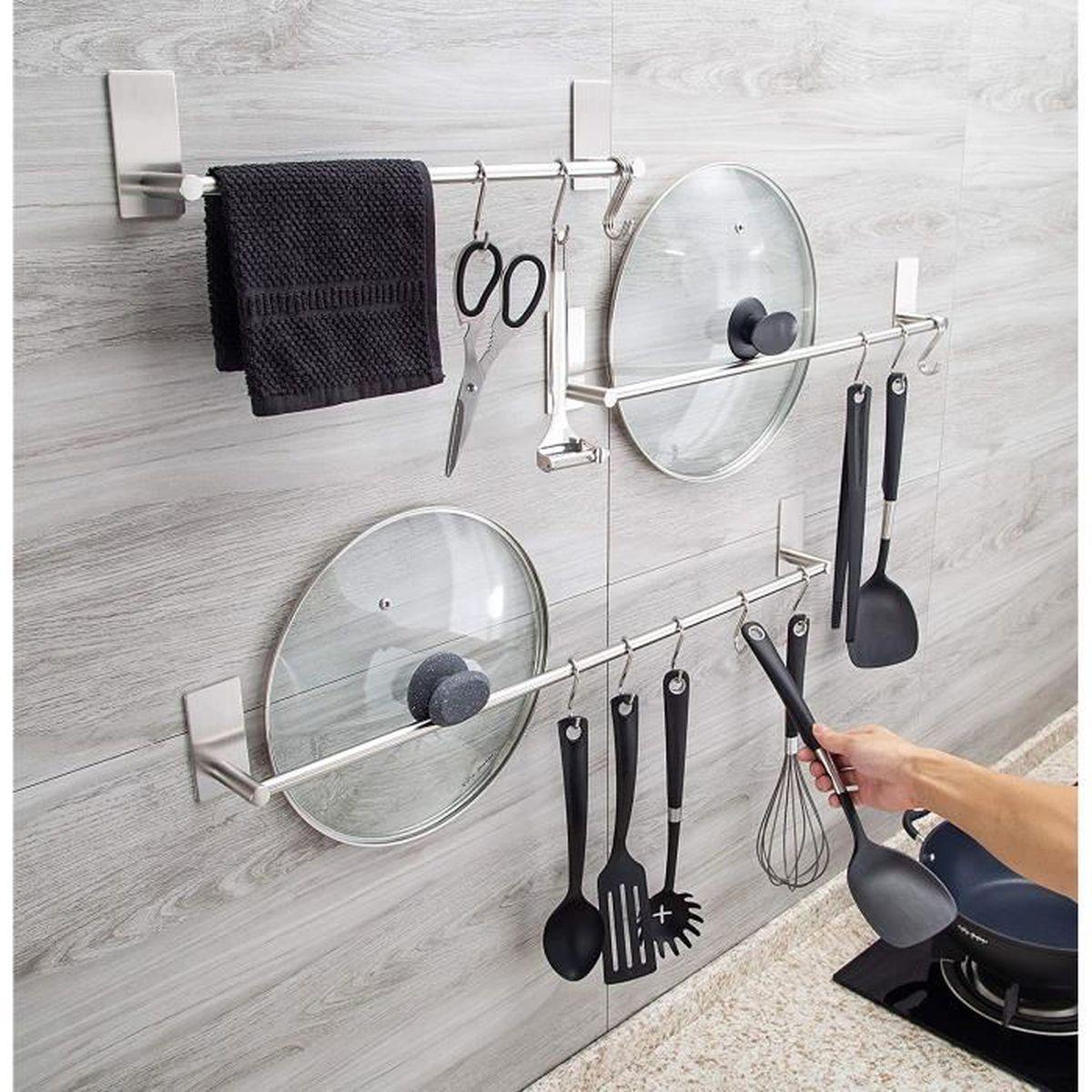 Porte Ustensile De Cuisine Sans Percer porte-serviette barre de serviette en acier inoxydable brossé sans perçage  salle de bain et cuisine 40 cm