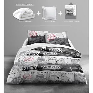 TODAY Pack Linge de lit adulte GOOD IDEA : 1 couette 220x240cm + 2 oreillers 60x60cm + 1 Parure de couette Only (1 housse+ 2 taies)