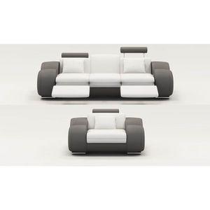 CANAPÉ - SOFA - DIVAN Ensemble cuir relax OSLO 3+1 places blanc et gris