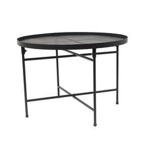 BOUT DE CANAPÉ Table d'appoint Métal perforé - Noir - L 50 x P 50