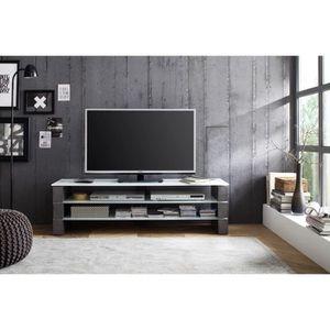 MEUBLE TV Meuble TV decor beton Blanc - L160 x L40 x H40 cm
