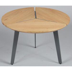TABLE D'APPOINT Guéridon rond en acier et MDF coloris chêne nature