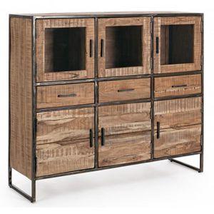 BUFFET - BAHUT  Buffet en bois avec 6 portes et 3 tiroirs - Dim :