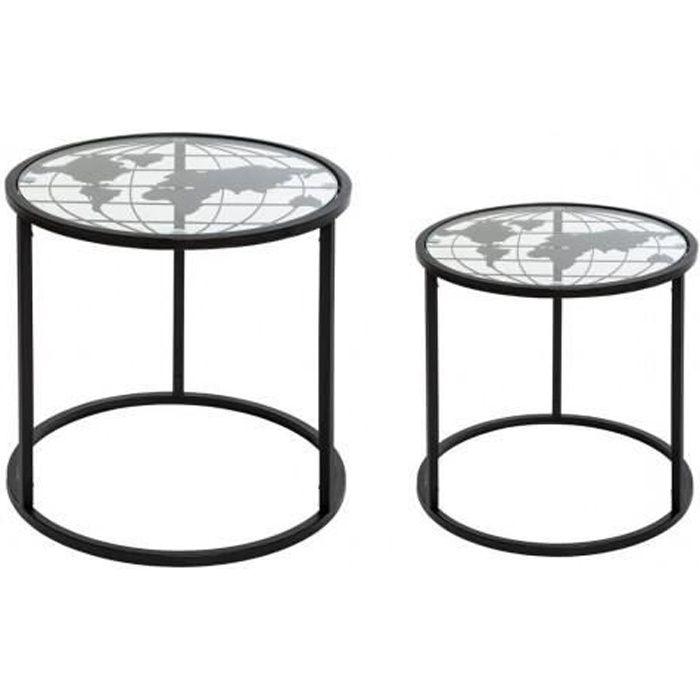 Lot de 2 tables d'appoint -Map- en métal Atmosphera - Couleur: Lot de 2 tables d'appoint -Map- Noir-Noir$Noir