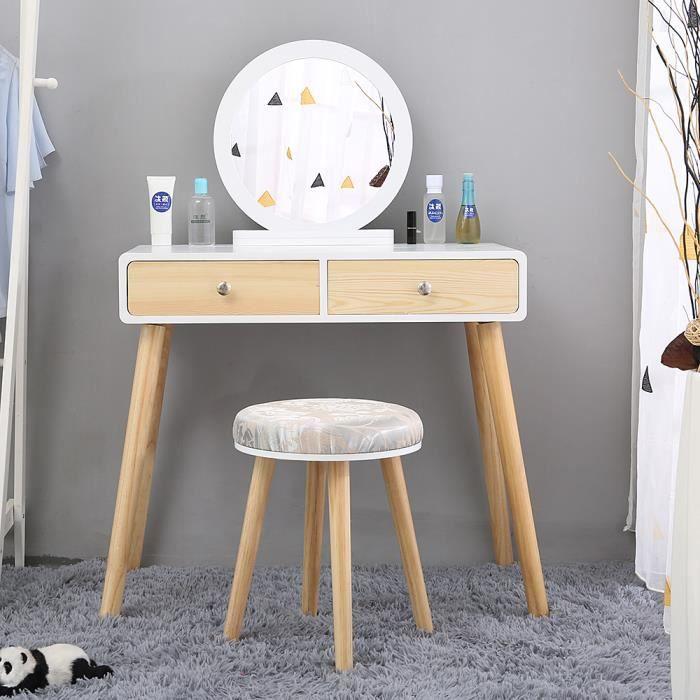 Coiffeuse design Miroir rond 3 tiroirs avec coulisses tabouret blanc&Bois