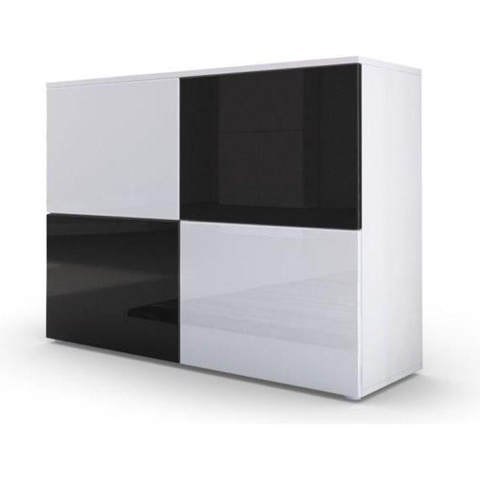 Commode design avec le corps mat blanc et façades laquées bicolores blanches et noirs