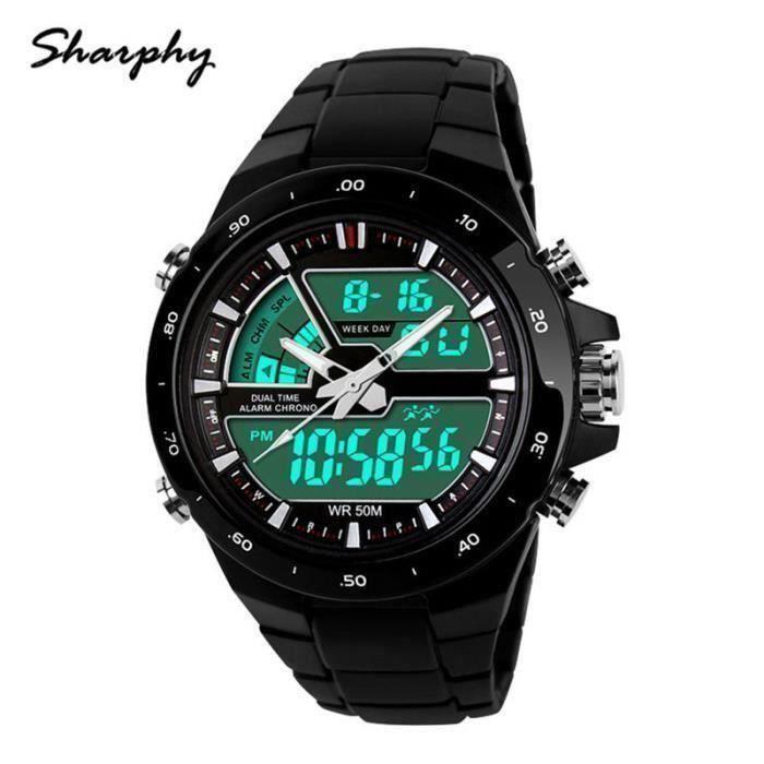 Montre Homme de marque Sport Double fuseau imperméable Quartz LED numérique Watch Men Couleur Noir