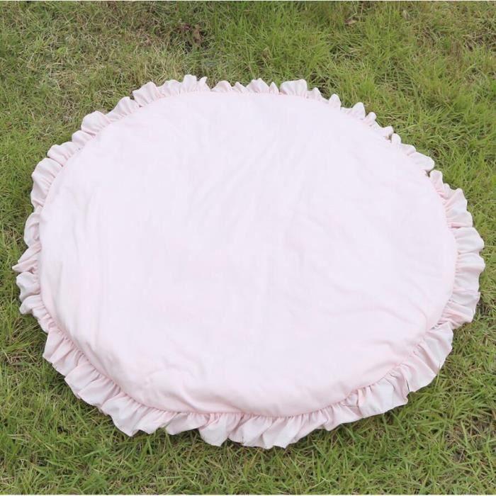 Tapis d'éveil,Nordique nouveau né bébé rembourré tapis de jeu doux coton ramper tapis filles jeu tapis - Type Rose-Diameter 100CM