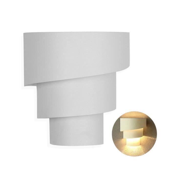 Applique Murale Lampe de mur de torche Lampe murale artistique avec douille E27 deco intérieur,finition lisse,blanc OK212