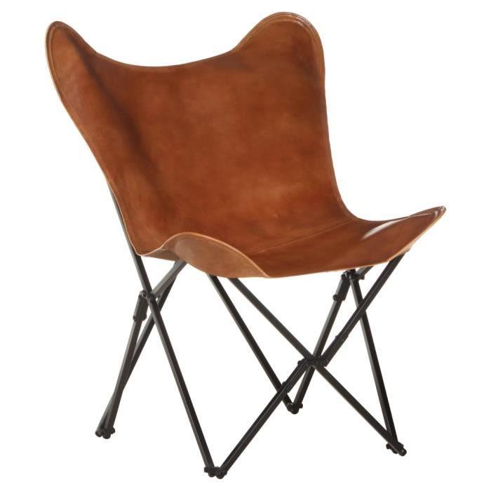 Chaise papillon pliante, Fauteuil camping ,chaise pêche pliable Marron Cuir véritable 73 x 76 x 81 cm -1957