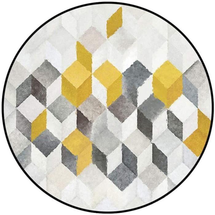 TAPIS D'EXTERIEUR - TAPIS DE JARDIN Tapis Rond Moquette Abstrait Gris-Jaune G&eacuteOm&eacuteTrique Mod&egraveLe,Chambre Salon191
