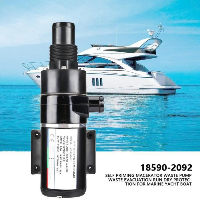 Qutianshop® Eau Pompe à Eau Usée Vidange Electrique automatique Yacht Camping-Bateau Caravane Noir en Plastique