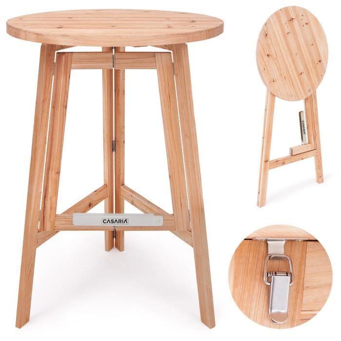 Deuba Table haute pliable en bois massif naturel - Mange debout • Pliante • Ronde Ø 78cm - Hauteur 111cm • Cuisine, Jardin, Terrasse