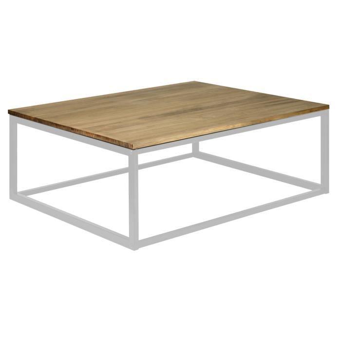 Table basse iCub 80x70x37 Blanc bois de pin massif finition vintage et acier style industriel