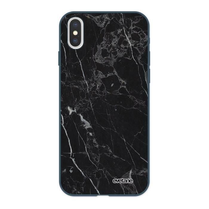 Coque iPhone X/XS Silicone Liquide Douce bleu nuit Marbre noir Ecriture Tendance et Design Evetane.