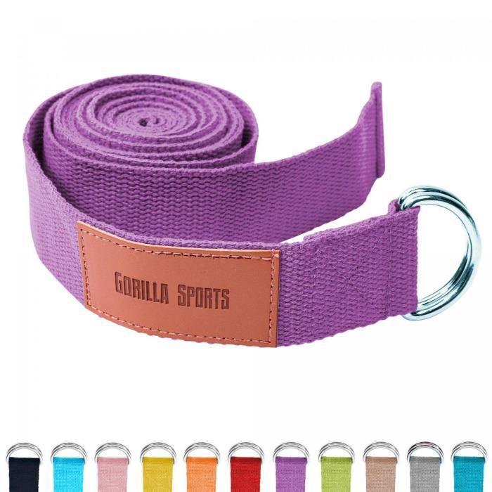 Sangle de Yoga Violette - 100% coton - Sangle pour étirements - Fermetures en métal