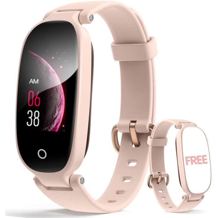 Montre Connectée Femme Smartwatch Sport Etanche IP67 Bracelet Connecté Fréquence Cardiaque Podomètre pour iPhone Samsung