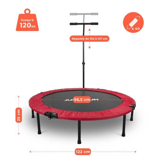Mini Trampoline Fitness Jump4fun Pliable T-Bar - Ø122cm, Rouge