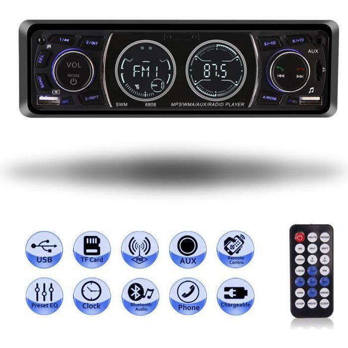 Letouch Autoradio Bluetooth Poste Radio Voiture 4x60W 1Din MP3 Lecteur de Voiture Stéréo Soutient FM/USB/SD/AUX/Bluetooth- noir