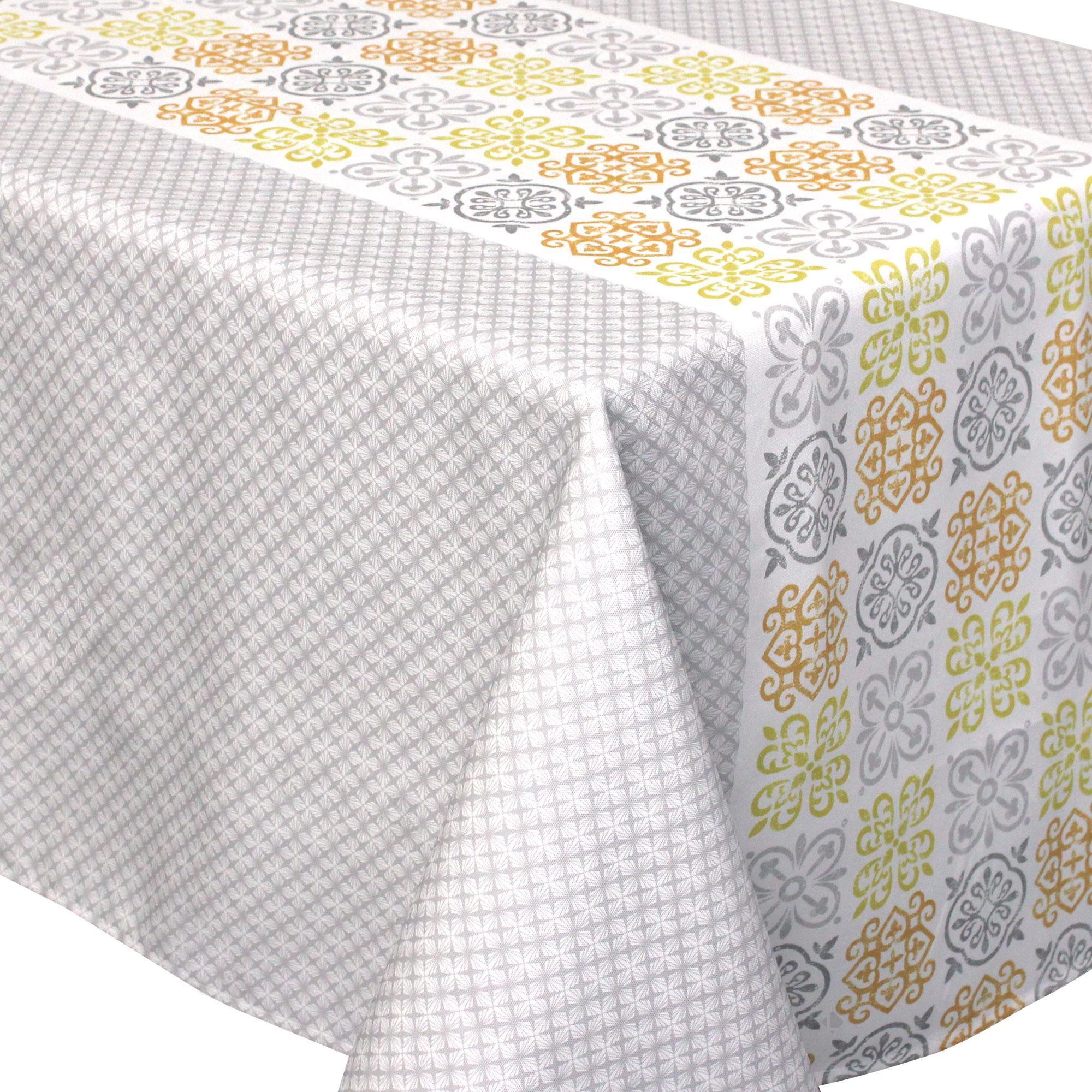 Nappe carrée 170x170 cm imprimée 100% polyester CARO géométrique gris Autre Multicolore