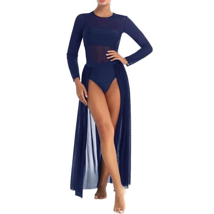 YIZYIF Femme Robe Danse Classique Manches Longues Justaucorps Robe Danse Latine S-XL Bleu marine
