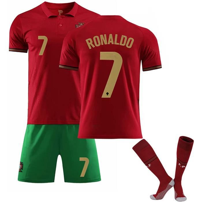 Sportswear Home Jersey 2021 Portugal # 7 Ronaldo Adultes Football Maillot Shorts avec Kit Chaussettes,Rouge