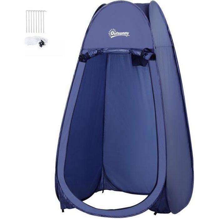 Tente de douche pliable pop-up automatique instantanée cabinet de changement camping polyester bleu marine 100x100x185cm Bleu Marine
