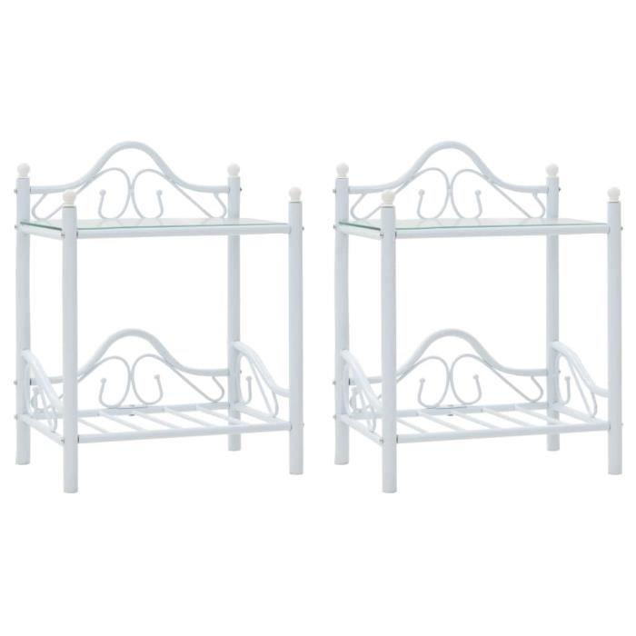 Lot de 2 Tables de chevet Table de nuit Scandinave Acier et verre trempé 45x30,5x60 cm Blanc
