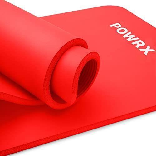 POWRX- Tapis de gymnastique / Tapis de yoga premium avec sangle de transport + sac + Affiche d'entraînement I Tapis de sport sans