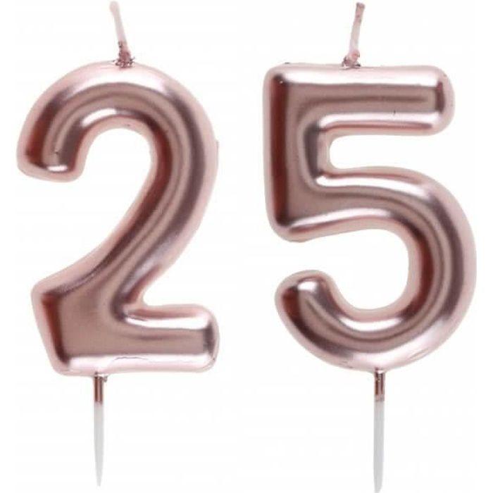 1 Pack bougie anniversaire 25 ans rose gold pour décoration gâteau anniversaire REF/7305