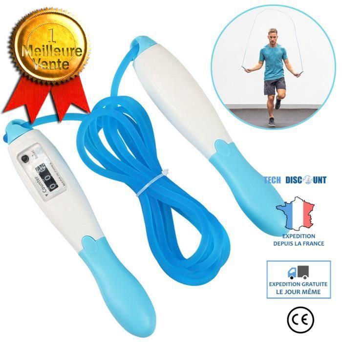 TD® bleu Corde à Sauter Numérique avec Compteur pour Enfant Adultes Gym Brûler des Calories Speed Rope Fitness- 2.5m