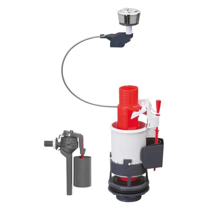 WIRQUIN Mécanisme de WC 3/6- laiton à câble + Robinet flotteur latéral Topy 3/8- laiton
