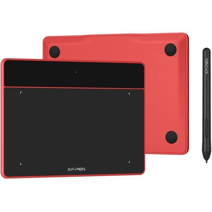 XP-PEN Deco Fun S Tablette Graphique à Stylet Passif 8192 Niveaux avec Inclinaison à 60° Tablette à Dessin 6x4 Pouces Rouge Carmin