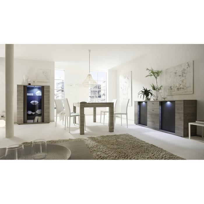 Salle manger compl te lumineuse gris et couleur ch ne for Salle a manger moderne complete