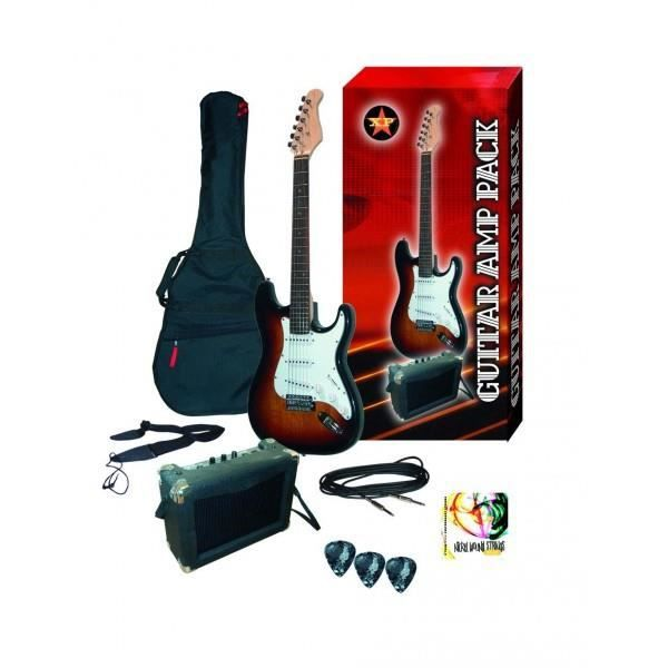 Pack guitare electrique sunburst ampli housse sangle for Housse guitare electrique