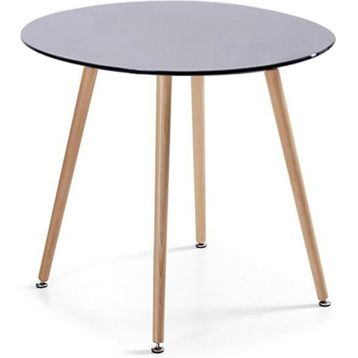 table manger ronde design noire 100cm alta achat. Black Bedroom Furniture Sets. Home Design Ideas