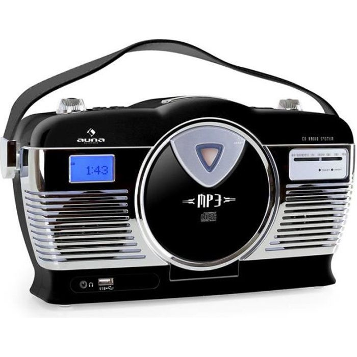 auna mcp 69 poste radio vintage avec lecteur cd et usb. Black Bedroom Furniture Sets. Home Design Ideas